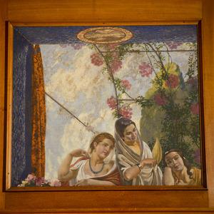 Drie vrouwen bij een venster