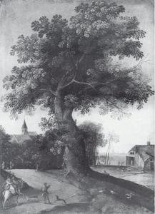 Landschap met grote boom