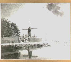 De Palmboommolen op het Molenbastion te Arnhem, gezien vanuit het westen