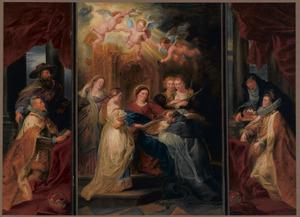 De H. Maagd schenkt de H. Ildefonso zijn kazuifel (middendeel), met links aartshertog Albrecht en rechts de Infanta Isabella Clara Eugenia als donors