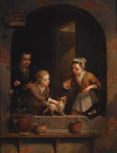 Twee kinderen spelen met een hond in een nisopening, met een oude vrouw in de achtergrond