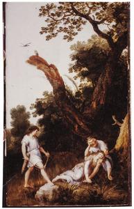 Silvio breekt zijn boog; de gewonde Dorinda ligt in de armen van Linco (uit: Guarini, Il Pastor Fido)