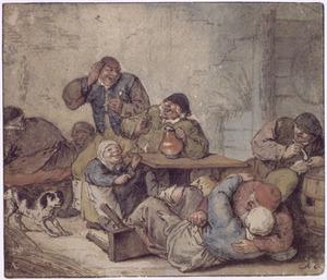 Feestende boeren in een herberg