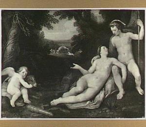 Venus en Adonis als minnaars met op de achtergrond de dood van Adonis (Ovidius, Met. 10:529-559)