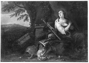 De boetvaardige Maria Magdalena in een landschap