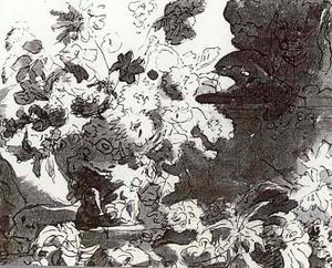 Bloemstilleven in een vaas, versierd met figuren, op een plint, rechts in de achtergrond een standbeeld van een leeuw