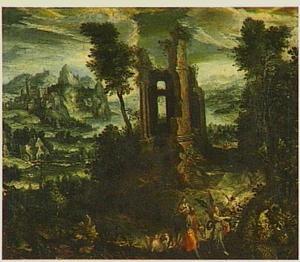 Landschap met een ruïne en de vlucht naar Egypte