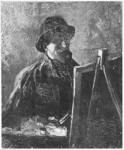 Zelfportret met ezel en schildergerei