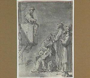 De aflaatverkoper preekt vanaf de kansel (Lazarillo de Tormes dl. 1, cap. 16, p. 46)