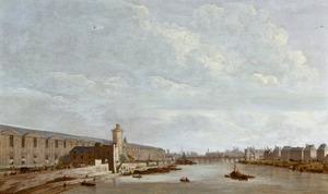 De Seine in Parijs vanuit het westen, met het Louvre en de Pont-Neuf