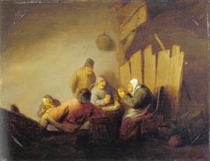 Kaartspelende boeren in een interieur