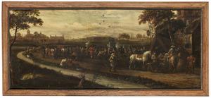 Landschap met soldaten bij een riviertje