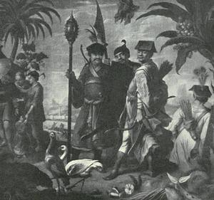 Chinese (?) krijgers in een tropisch landschap met Brasiliaanse vruchten en dieren
