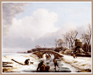 Winterlandschap met schaatsers op een sloot bij een molen