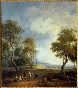 Landschap met fluitspeler, dansende herder en herderin en enkele toeschouwers