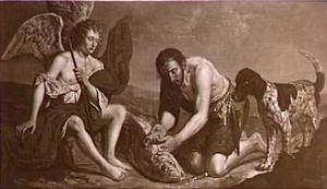 Tobias haalt de ingewanden uit de vis (Tobias 6:6-7)