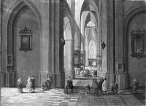 Interieur van een denkbeeldige gotische kerk tijdens een mis