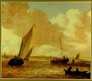 Riviergezicht met schepen
