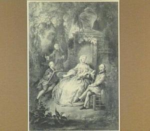 Portret van de familie De Choiseul, ten voeten uit in een park
