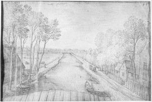 Gezicht vanaf een brug bij Delfgauw
