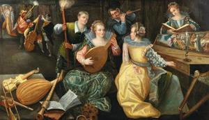 Elegant gezelschap, musicerend bij fakkellicht