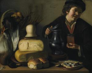 Jongen met een tinnen kan bij een stilleven met eend, kaas, brood en een haring