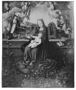 Maria met kind en engelen met de Arma Christi