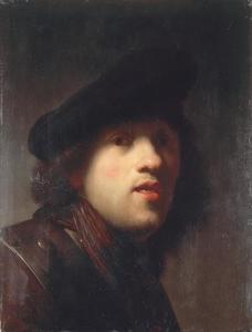 Zelfportret met halsberg en baret