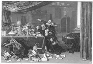 Interieur met vier figuren die vechten om een uitstalling van kostbaarheden