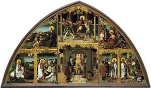 Interieur van de Pauselijke aartsbasiliek van Sint-Jan van Lateranen, gevangenschap van Christus, en scènes uit het leven van Johannes de Doper