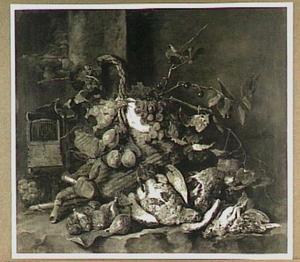 Stilleven van vruchten en gevogelte; links een vogelkooi