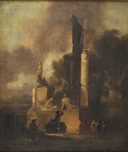 Italianiserend landschap met figuren voor een klassieke ruïne met een marmeren beeldhouwwerk en een romeinse zuil