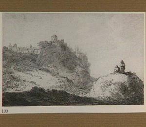 Heuvellandschap met tekenaar, op de achtergrond een stad