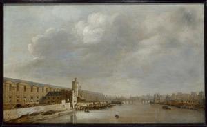 Gezicht op Parijs met de Grande Galerie du Louvre, de porte Neuve, de Tour de Bois, de Pont-Neuf en la Cité