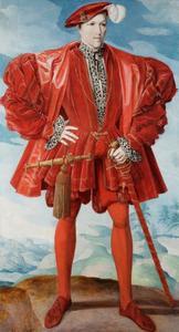 Portret van een onbekende man in rood kostuum