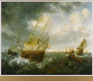 Schepen in een woelige zee
