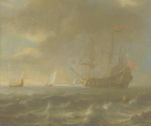 Een Hollandse driemaster op woelig water