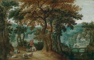 Boslandschap met een boerenpaar te paard onderweg