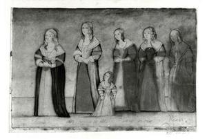 Groepsportret van een vrouw genaamd Congney, een onbekende vrouw met haar dochter, een vrouw genaamd Plancy met haar moeder (?) en een vrouw genaamd Ransi (?)