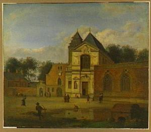 Gezicht op een kerk aan een plein