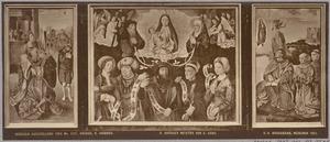 De Tiburtijnse sibille voorspelt de komst van Christus aan Keizer Augustus (binnenzijde links), Maria met kind, samen met Joachim en Anna, profeten en sibyllen (midden), Het visioen van Johannes de Evangelist op het eiland Patmos, met 2 stichters (binnenzijde rechts); Ecce Homo (buitenzijde links), Maria met Johannes de Evangelist en de H. Franciscus (buitenzijde rechts)