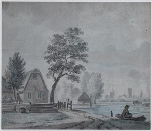 Landschap met rivier, visser en boerderij