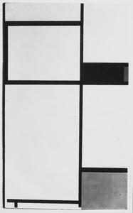 Komposition mit Gelb, Zinnober, Schwarz, Blau und verschiedenen grauen und weissen Tönen