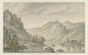Gezicht op de Rijn, links Rolandseck,  rechts Drachenfels en het eiland Nonnenwerth