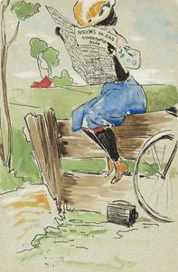 Dame op hek, met nieuws van de dag