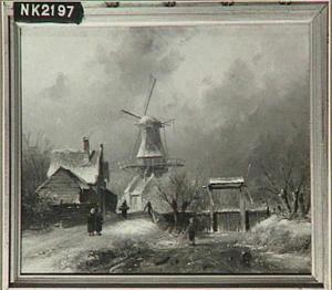Een bevroren vaart met een sluis en een molen