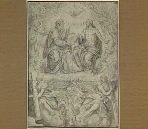 De H. Drieëenheid, omgeven door engelen met passie-attributen