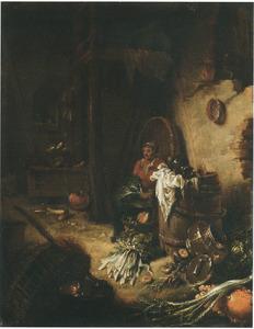 Boerderij-interieur met zittende vrouw