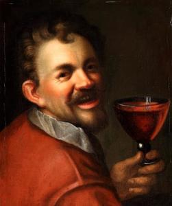Zelfportret met glas wijn
