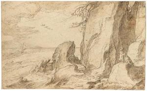 Een rotslachtig kustlandschap met twee figuren